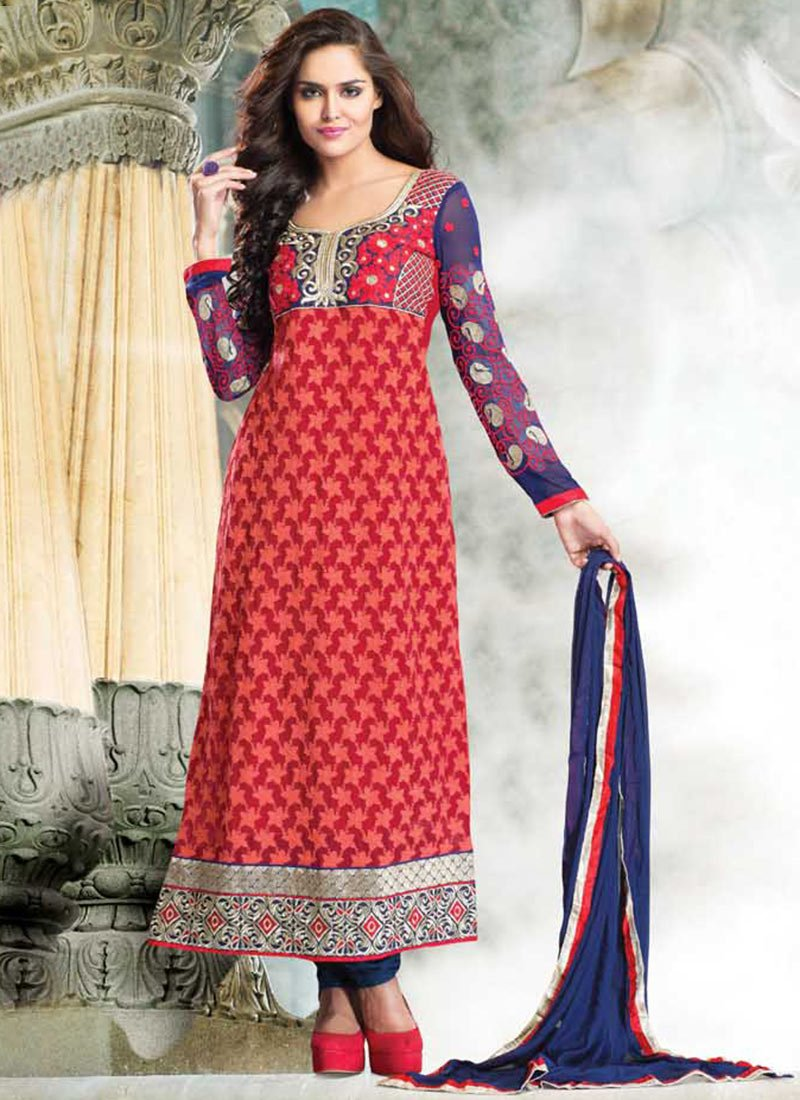 alluring-red-faux-georgette-kalidar-suit-Latest Indian Ethnic Wear Dresses & Stylish Suits Formal Collection for Women