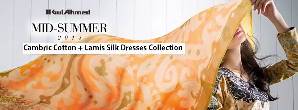 Gul Ahmed New Embroidered Cambric Eid-Ul-Azha Festival Wear Silk & Cotton Dresses Collection for Women 2014-2015