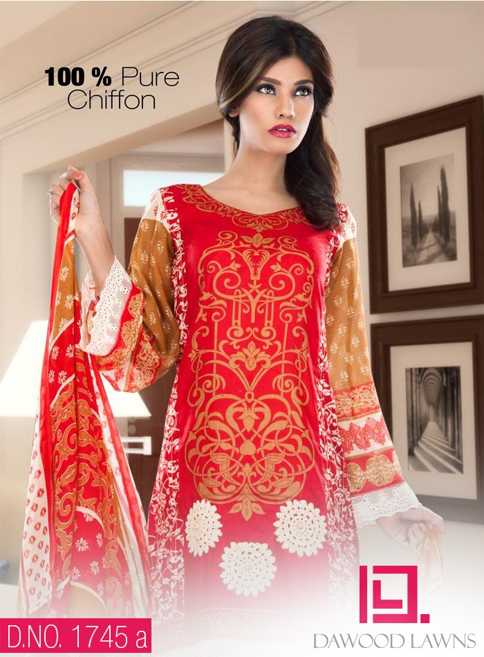 New Stylish and Fancy Chiffon & Khaddar Winter Dresses Eid ul Azha Collection 2014-2015 by Dawood Textiles Mill (1)