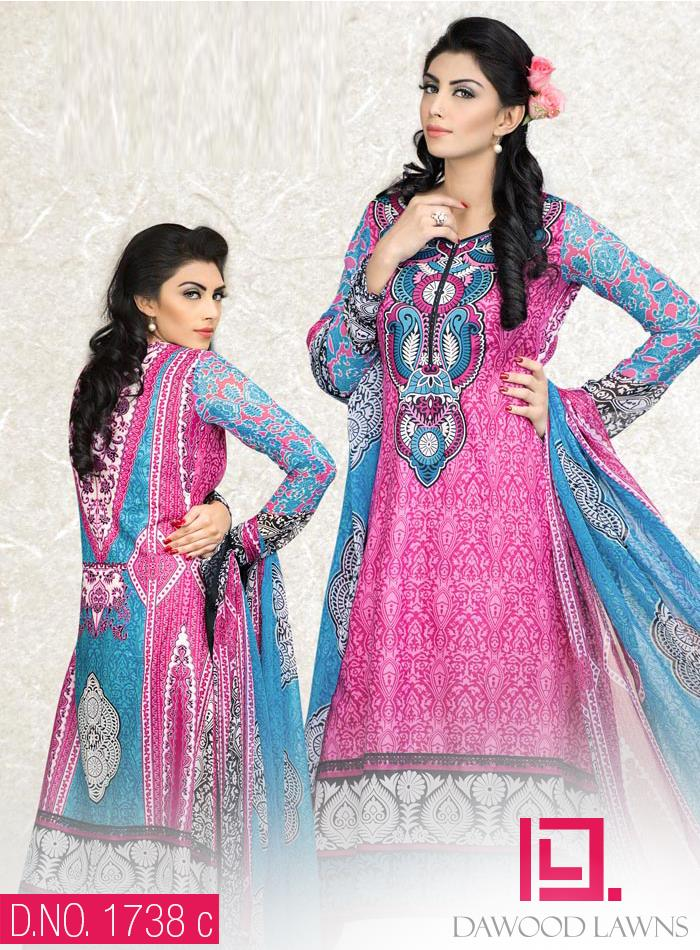 New Stylish and Fancy Chiffon & Khaddar Winter Dresses Eid ul Azha Collection 2014-2015 by Dawood Textiles Mill (11)