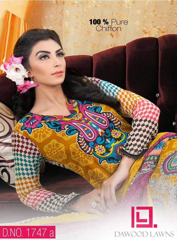 New Stylish and Fancy Chiffon & Khaddar Winter Dresses Eid ul Azha Collection 2014-2015 by Dawood Textiles Mill (12)