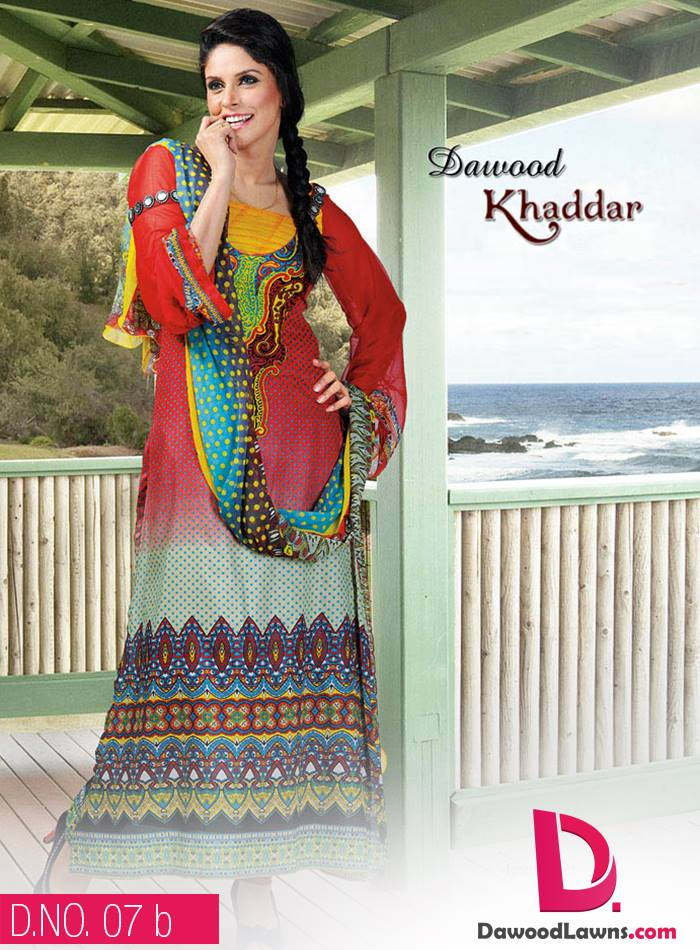 New Stylish and Fancy Chiffon & Khaddar Winter Dresses Eid ul Azha Collection 2014-2015 by Dawood Textiles Mill (16)