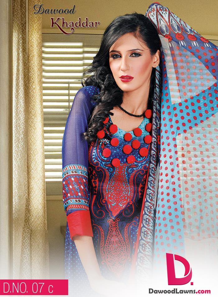 New Stylish and Fancy Chiffon & Khaddar Winter Dresses Eid ul Azha Collection 2014-2015 by Dawood Textiles Mill (17)