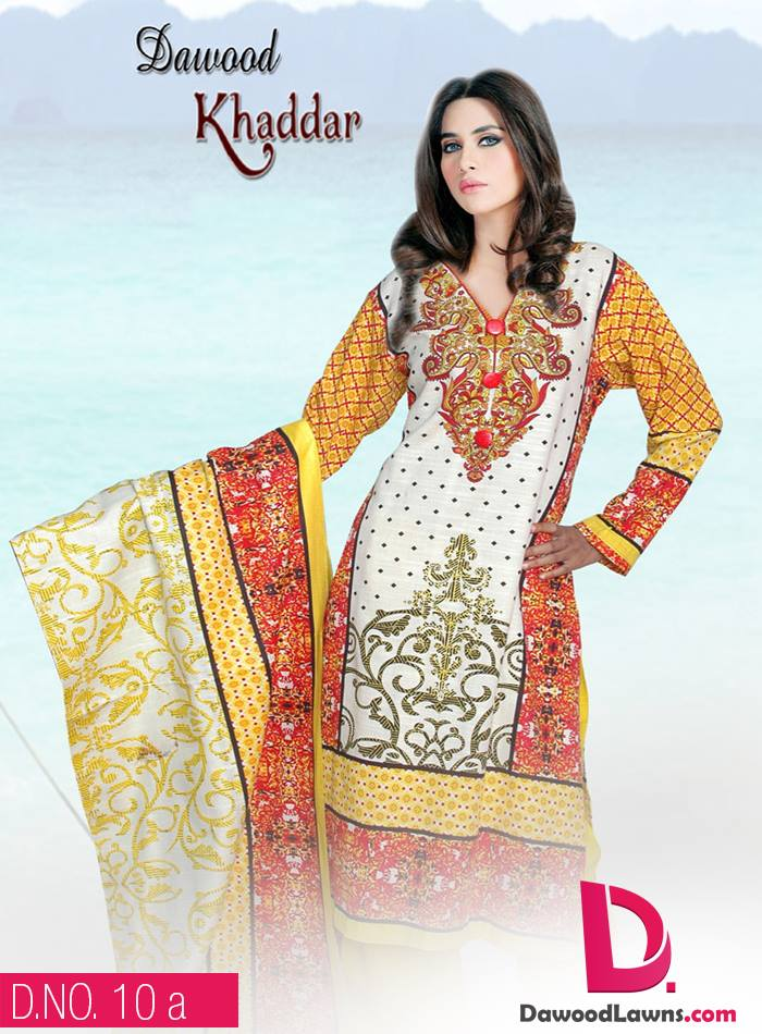 New Stylish and Fancy Chiffon & Khaddar Winter Dresses Eid ul Azha Collection 2014-2015 by Dawood Textiles Mill (18)
