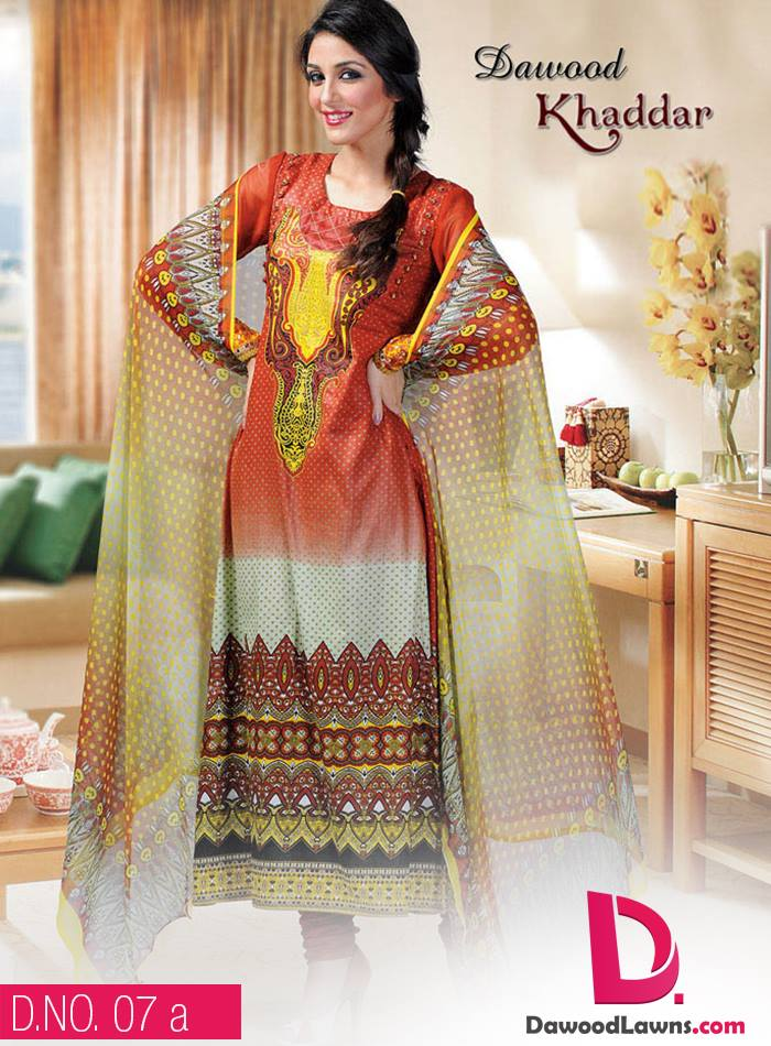 New Stylish and Fancy Chiffon & Khaddar Winter Dresses Eid ul Azha Collection 2014-2015 by Dawood Textiles Mill (19)