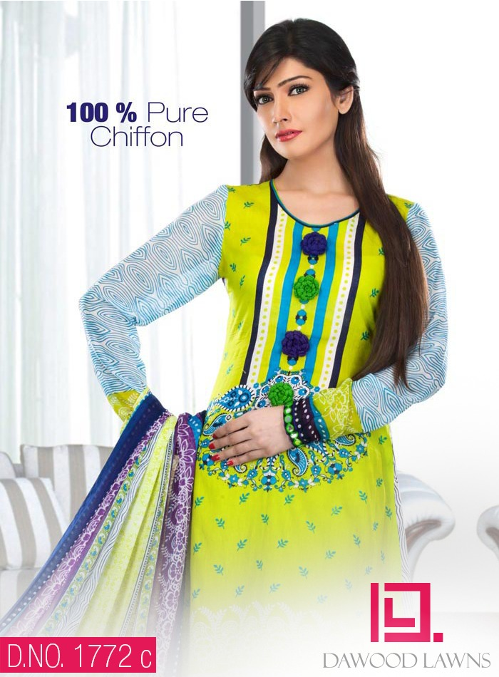 New Stylish and Fancy Chiffon & Khaddar Winter Dresses Eid ul Azha Collection 2014-2015 by Dawood Textiles Mill (2)