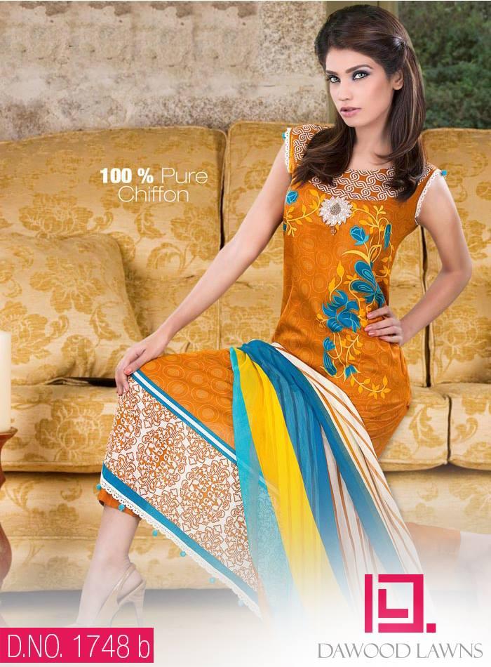 New Stylish and Fancy Chiffon & Khaddar Winter Dresses Eid ul Azha Collection 2014-2015 by Dawood Textiles Mill (2)