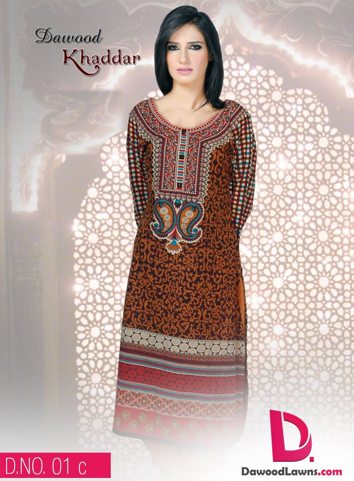 New Stylish and Fancy Chiffon & Khaddar Winter Dresses Eid ul Azha Collection 2014-2015 by Dawood Textiles Mill (20)