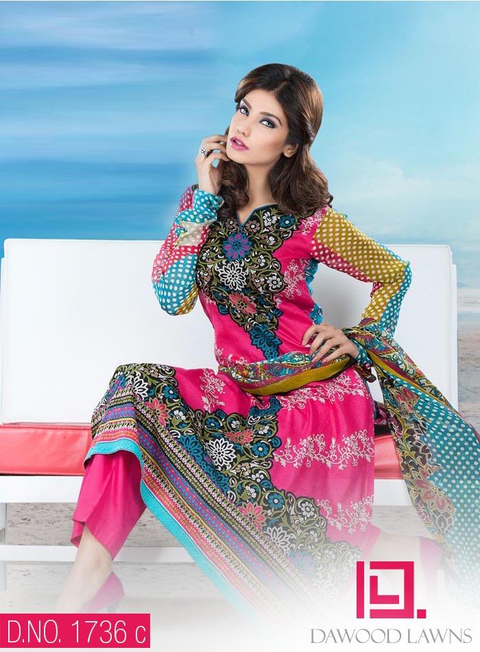New Stylish and Fancy Chiffon & Khaddar Winter Dresses Eid ul Azha Collection 2014-2015 by Dawood Textiles Mill (3)
