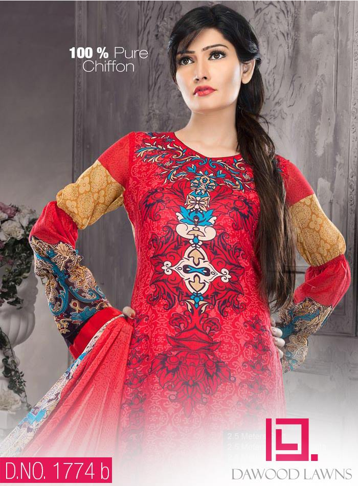 New Stylish and Fancy Chiffon & Khaddar Winter Dresses Eid ul Azha Collection 2014-2015 by Dawood Textiles Mill (4)