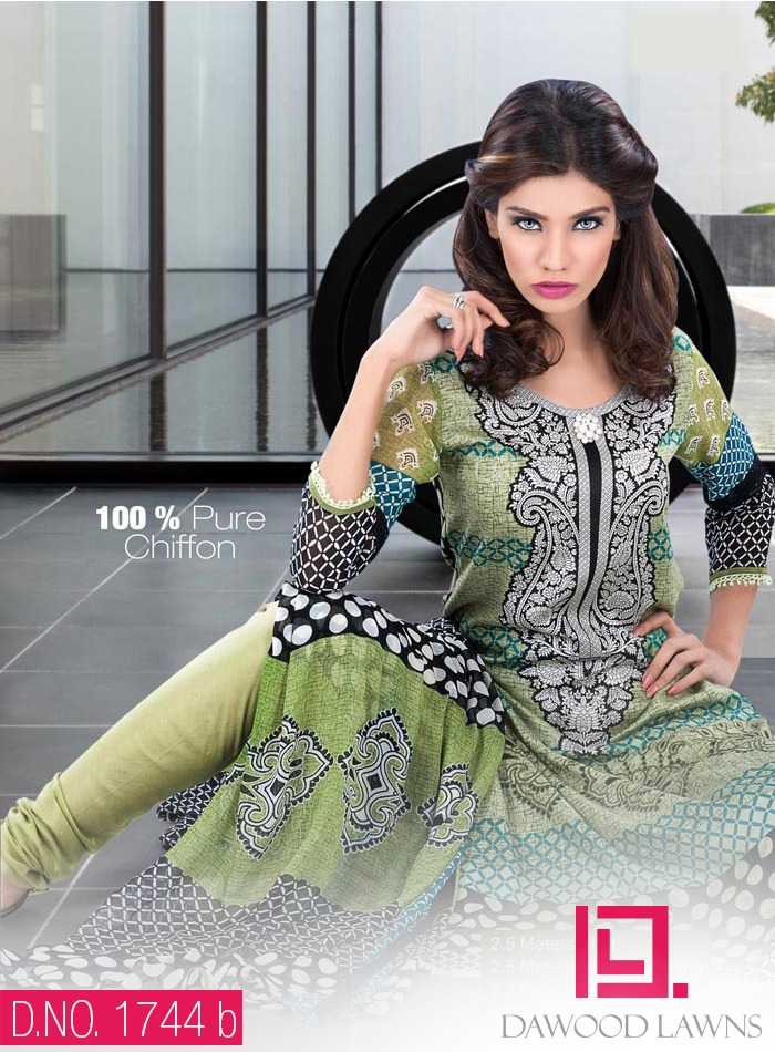New Stylish and Fancy Chiffon & Khaddar Winter Dresses Eid ul Azha Collection 2014-2015 by Dawood Textiles Mill (5)