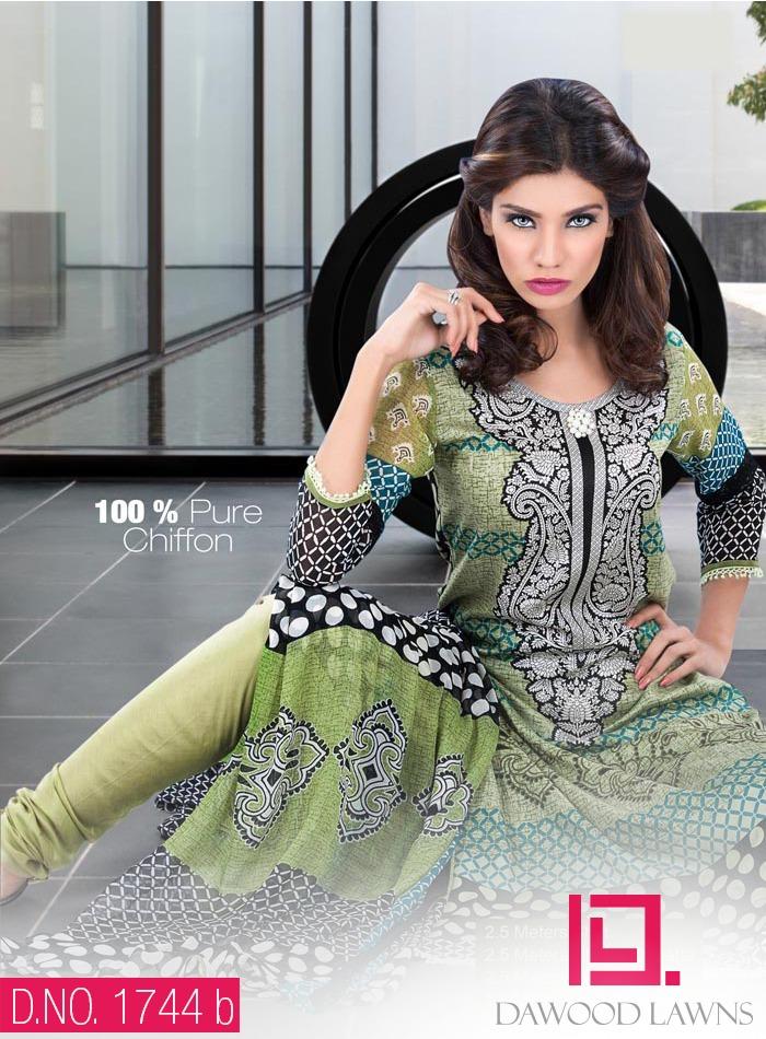 New Stylish and Fancy Chiffon & Khaddar Winter Dresses Eid ul Azha Collection 2014-2015 by Dawood Textiles Mill (5)