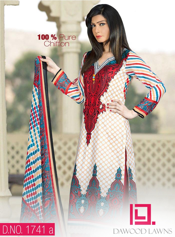 New Stylish and Fancy Chiffon & Khaddar Winter Dresses Eid ul Azha Collection 2014-2015 by Dawood Textiles Mill (6)