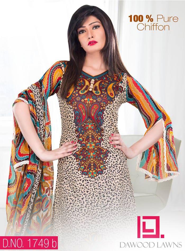 New Stylish and Fancy Chiffon & Khaddar Winter Dresses Eid ul Azha Collection 2014-2015 by Dawood Textiles Mill (6)