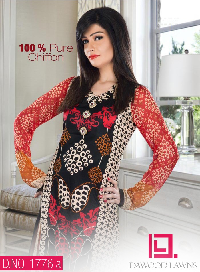 New Stylish and Fancy Chiffon & Khaddar Winter Dresses Eid ul Azha Collection 2014-2015 by Dawood Textiles Mill (7)