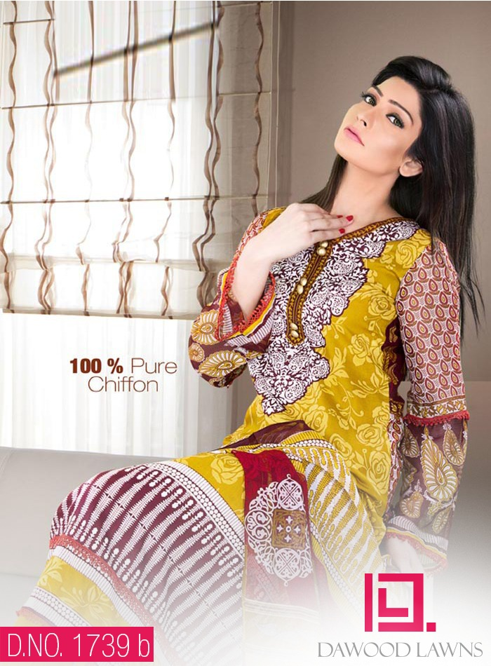 New Stylish and Fancy Chiffon & Khaddar Winter Dresses Eid ul Azha Collection 2014-2015 by Dawood Textiles Mill (8)
