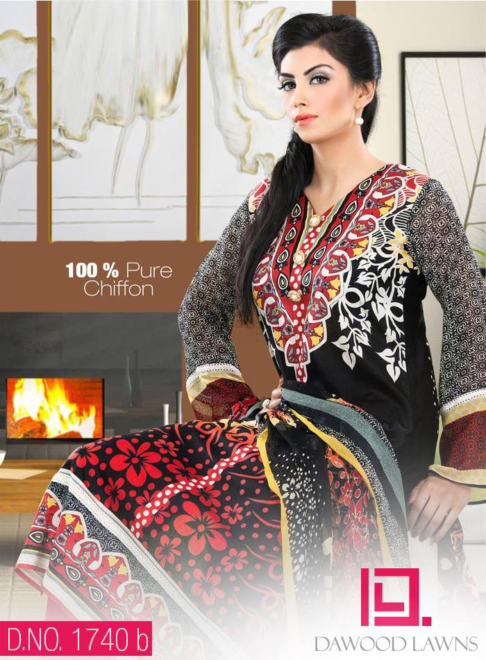 New Stylish and Fancy Chiffon & Khaddar Winter Dresses Eid ul Azha Collection 2014-2015 by Dawood Textiles Mill (9)