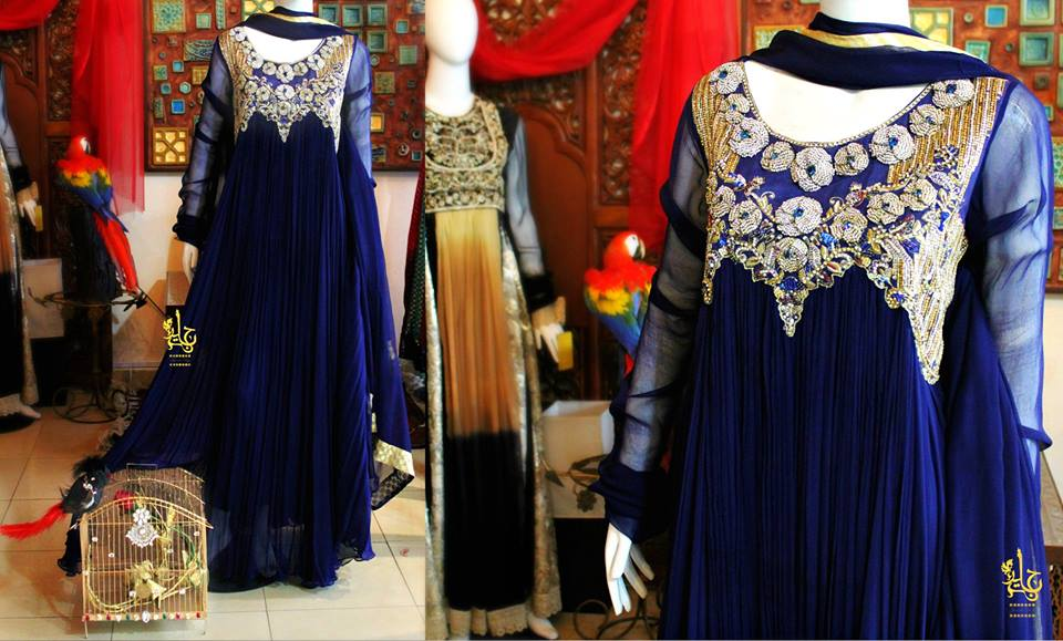 Latest Best Party Wear Frocks & Gowns for Women 2014-2015 Fancy Embroidered Collection (15)