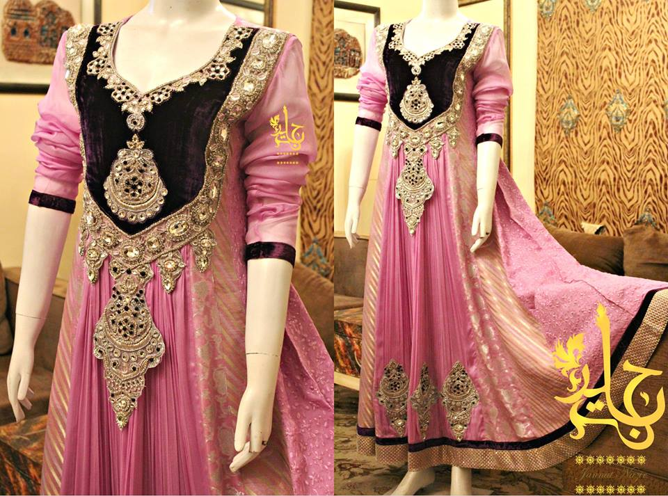 Latest Best Party Wear Frocks & Gowns for Women 2014-2015 Fancy Embroidered Collection (3)