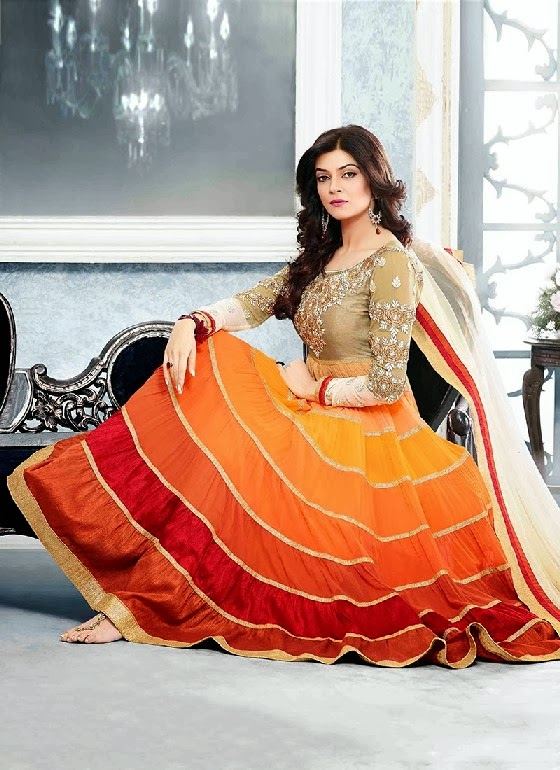 New Indian Fashion Long Shirt Anarkali Dresses for Girls 2014-2015 Fancy Embroidered Collection (12)