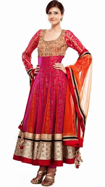 New Indian Fashion Long Shirt Anarkali Dresses for Girls 2014-2015 Fancy Embroidered Collection (15)