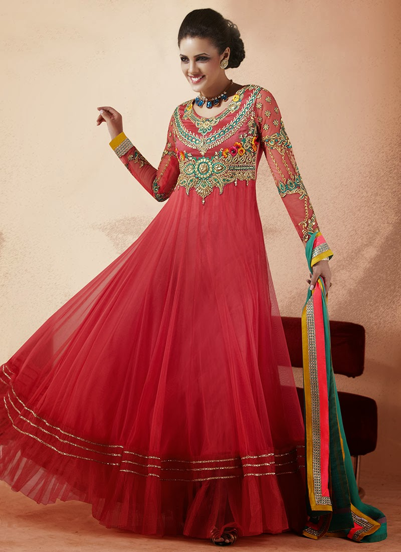 New Indian Fashion Long Shirt Anarkali Dresses for Girls 2014-2015 Fancy Embroidered Collection (22)