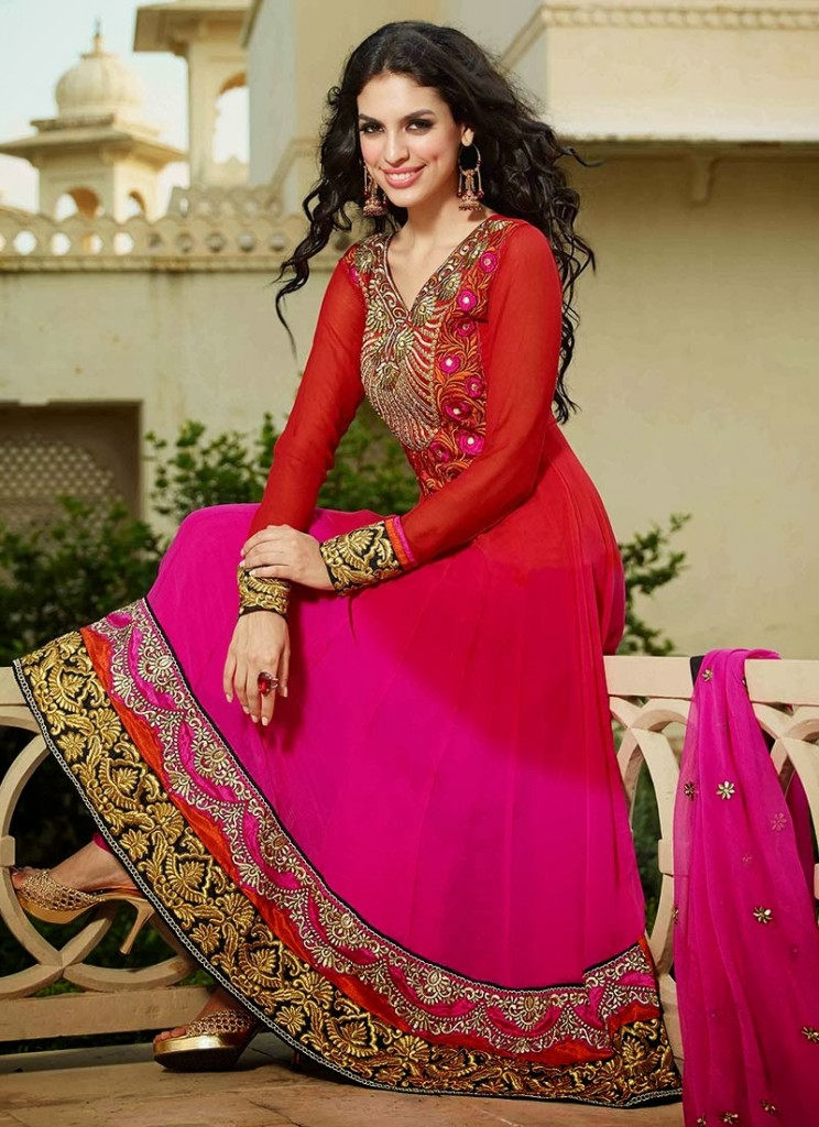 New Indian Fashion Long Shirt Anarkali Dresses for Girls 2014-2015  Fancy Embroidered Collection (23)