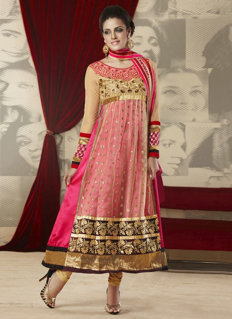 New Indian Fashion Long Shirt Anarkali Dresses for Girls 2014-2015 Fancy Embroidered Collection (24)