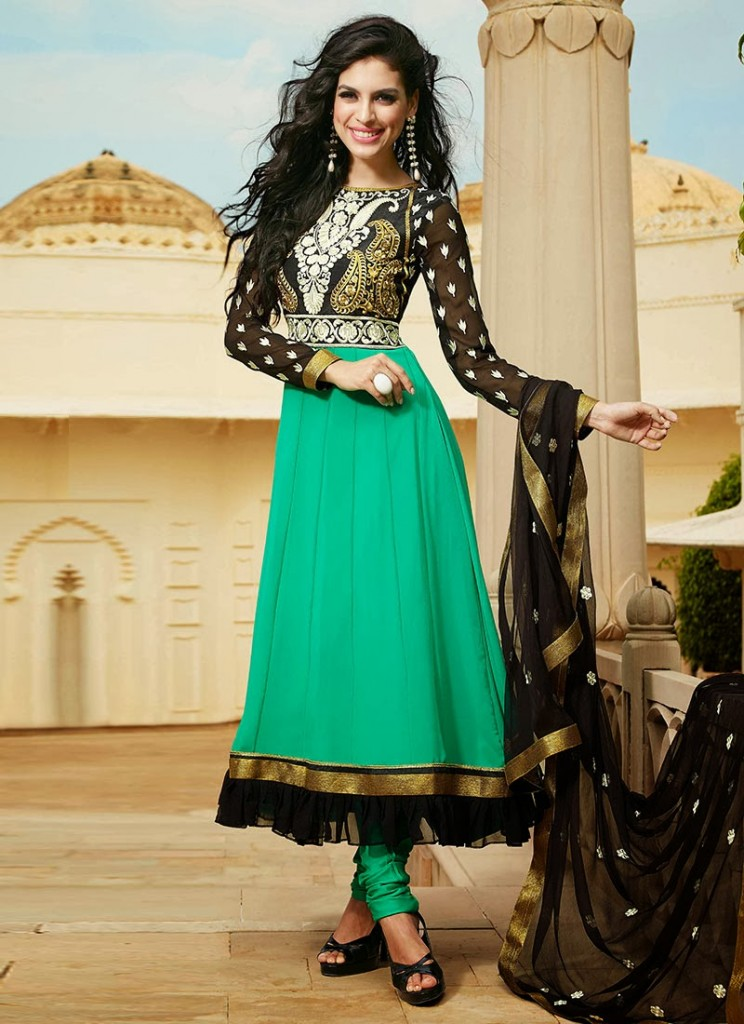 New Indian Fashion Long Shirt Anarkali Dresses for Girls 2014-2015  Fancy Embroidered Collection (25)