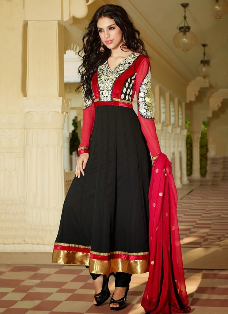 New Indian Fashion Long Shirt Anarkali Dresses for Girls 2014-2015  Fancy Embroidered Collection (27)