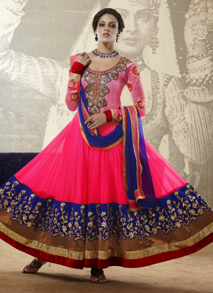 New Indian Fashion Long Shirt Anarkali Dresses for Girls 2014-2015 Fancy Embroidered Collection (29)