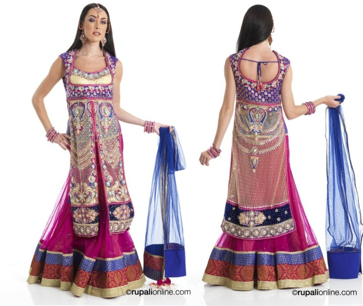 New Indian Fashion Long Shirt Anarkali Dresses for Girls 2014-2015 Fancy Embroidered Collection (3)