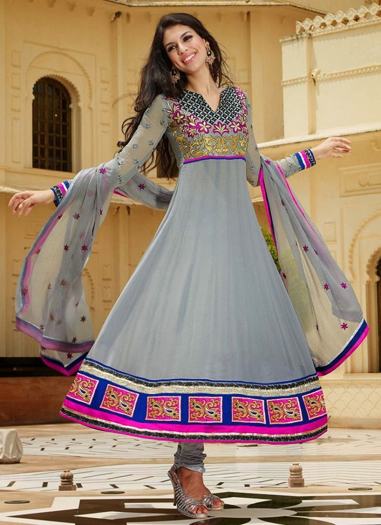 New Indian Fashion Long Shirt Anarkali Dresses for Girls 2014-2015  Fancy Embroidered Collection (30)