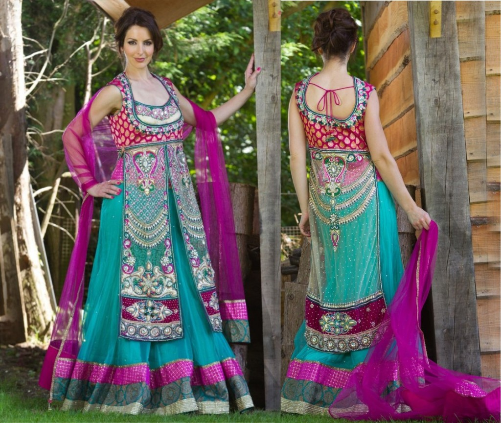 New Indian Fashion Long Shirt Anarkali Dresses for Girls 2014-2015  Fancy Embroidered Collection (4)