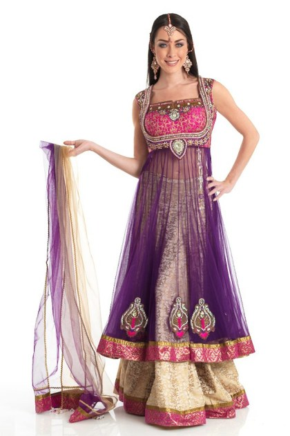 New Indian Fashion Long Shirt Anarkali Dresses for Girls 2014-2015  Fancy Embroidered Collection (5)