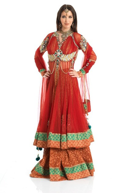 New Indian Fashion Long Shirt Anarkali Dresses for Girls 2014-2015 Fancy Embroidered Collection (6)