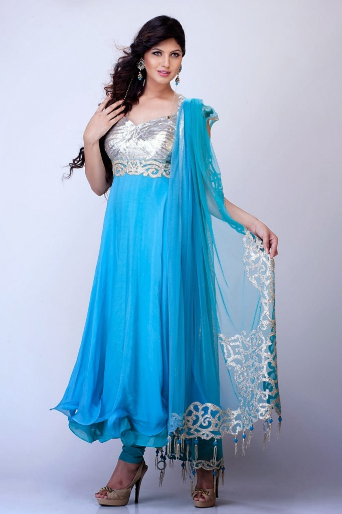 New Indian Fashion Long Shirt Anarkali Dresses for Girls 2014-2015 Fancy Embroidered Collection (8)