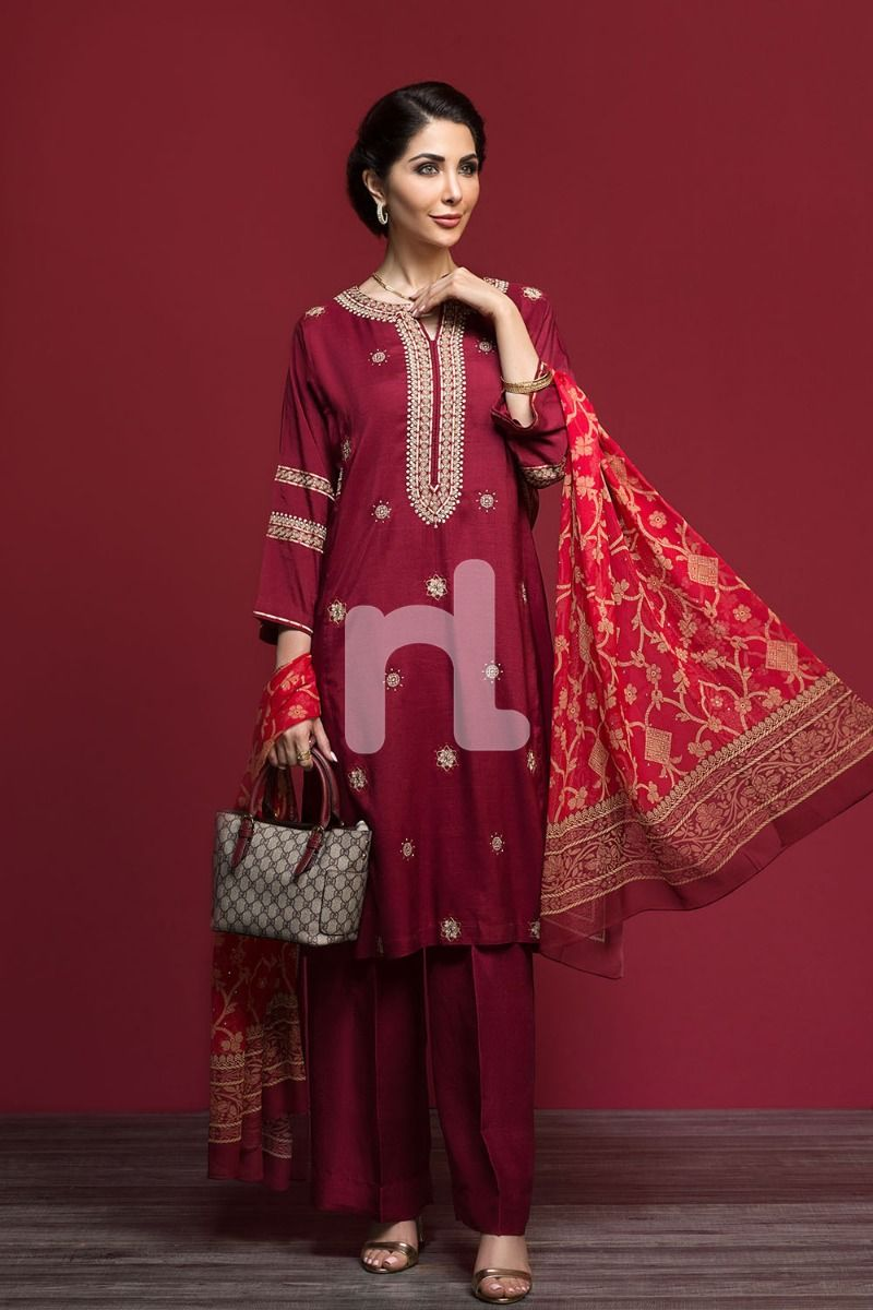 maroon silk fancy formal winter dress