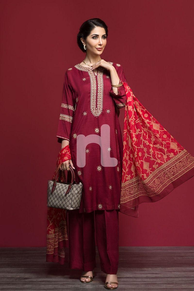 maroon silk fancy formal winter dress