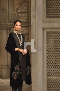 black embroidered velvet shawl