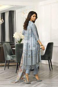 pastel blue cotton net fancy winter formal dress