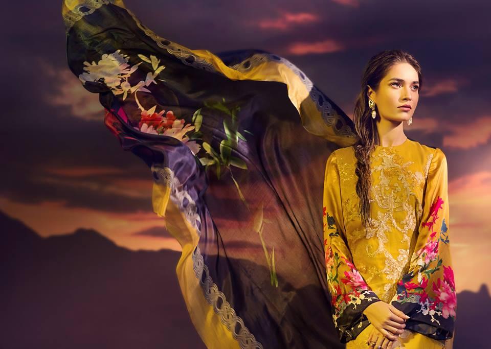 Sana Safinaz Silk Chiffon Dresses Designs Collection 2017-2018 images 3