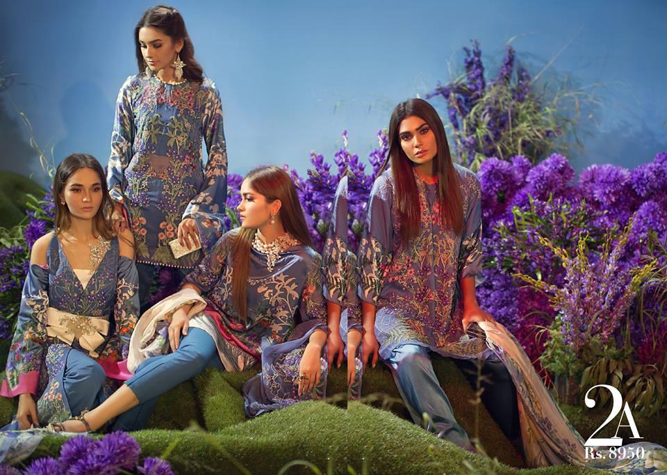 Sana Safinaz Silk Chiffon Dresses Designs Collection 2017-2018 images 2