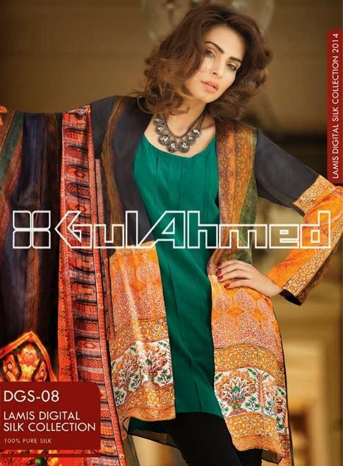 Gul Ahmed Modern Silk Velvet Dresses Pret Collection 2014-2015 for Women