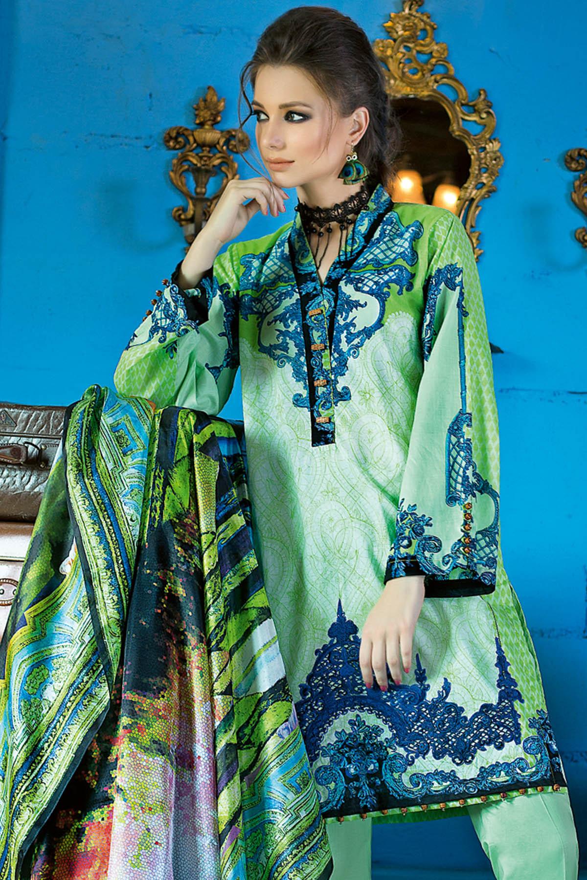 Gul Ahmed Summer Formal Dresses Silk & Chiffon Premium Collection 2017-18 (7)