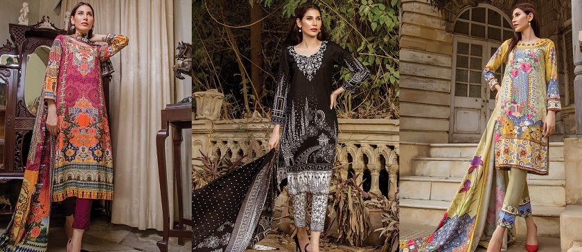 House of Ittehad German Linen Winter Dresses Collection 2018-2019