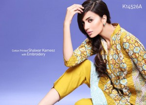 Khaadi Cambric Collection Winter/ Autumn Dresses 2014-15 Catalogue for women