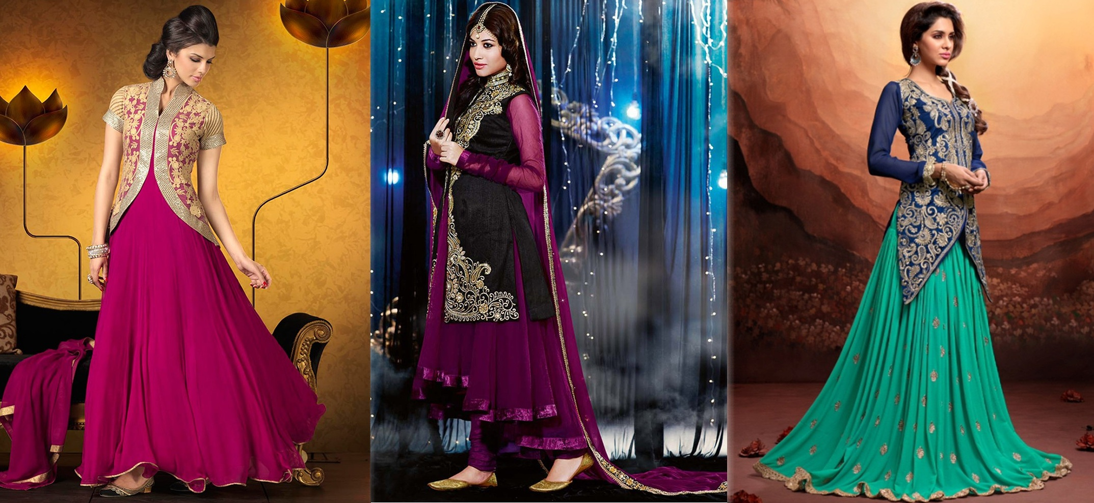 Latest Indian Designer Collection Jacket Styled Dresses Anarkali Suits for Girls 2014-2015 (1)