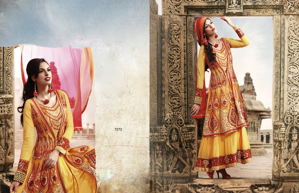 Latest Indian Designer Collection Jacket Styled Dresses Anarkali Suits for Girls 2014-2015 (3)