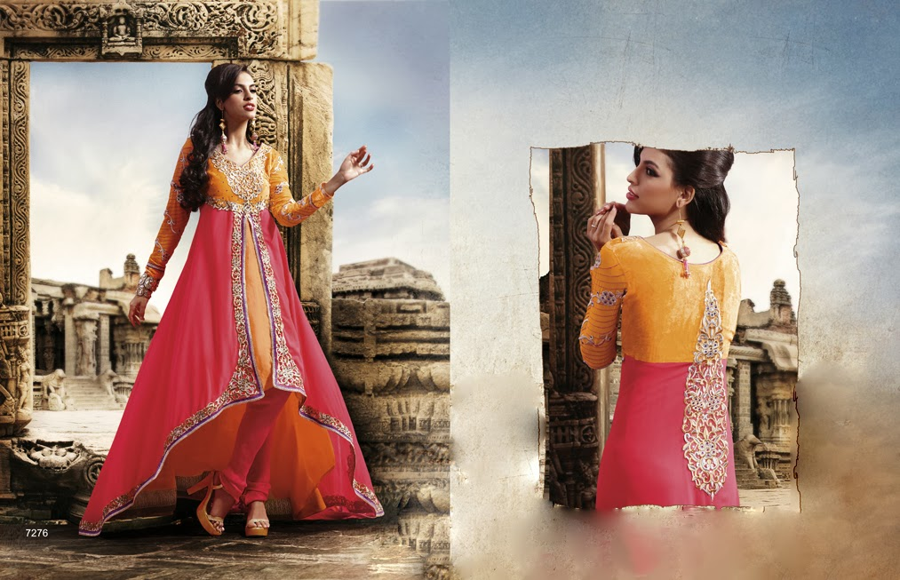 Latest Indian Designer Collection Jacket Styled Dresses Anarkali Suits for Girls 2014-2015 (6)